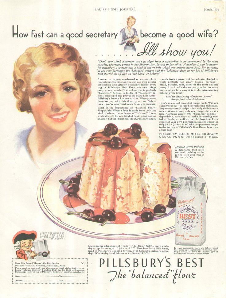 """How fast can a good secretary become a good wife?"" Pillsbury Flour Ad"