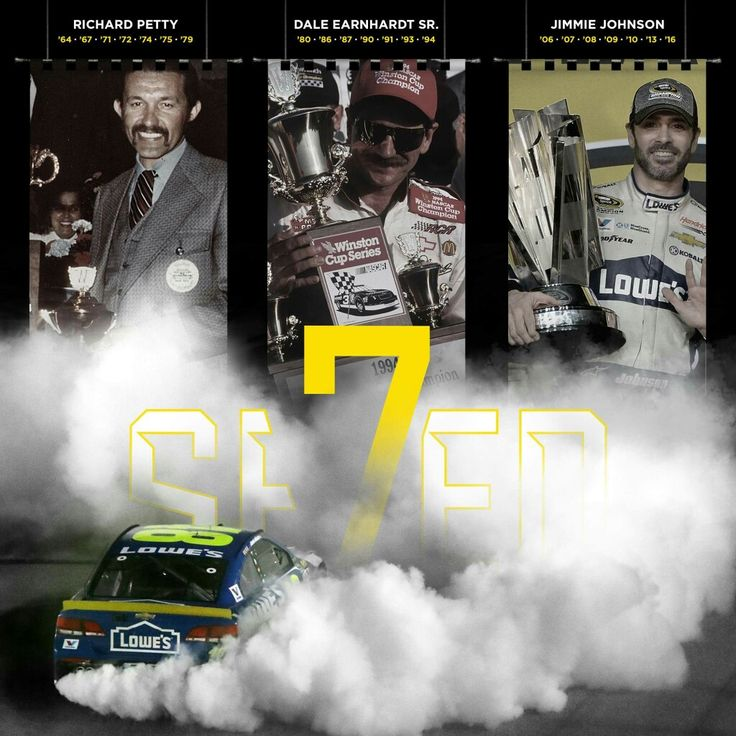 Seven NASCAR titles: Richard Petty, Dale Earnhardt, and Jimmie Johnson