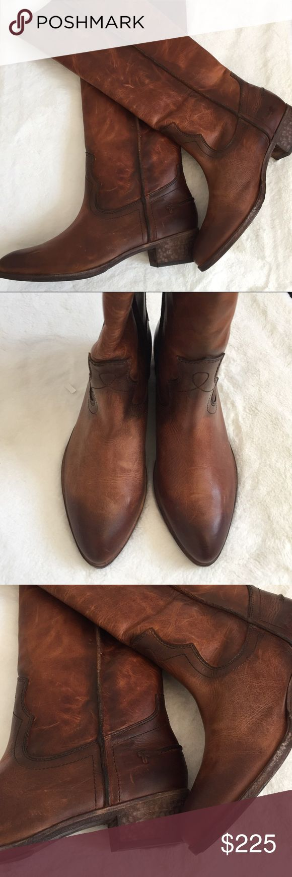 "Frye | Tall Cognac Boots Frye tall leather boots. Cognac color and pull up style with natural distressed leather. Extremely soft and comfortable. Unfortunately they don't fit my calves. 1.5"" heel height. New with box. Frye Shoes Heeled Boots"