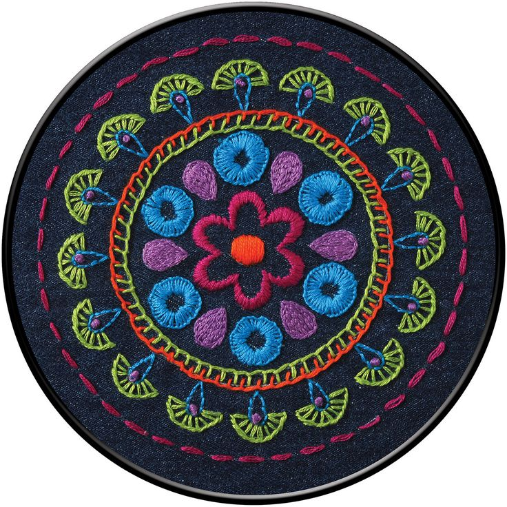 Bucilla-Stamped Embroidery Kit. The ideal project for beginners! This package contain stamped denim fabric, cotton embroidery floss, one needle and instructions. Finished Size: 6 inches round. Design: