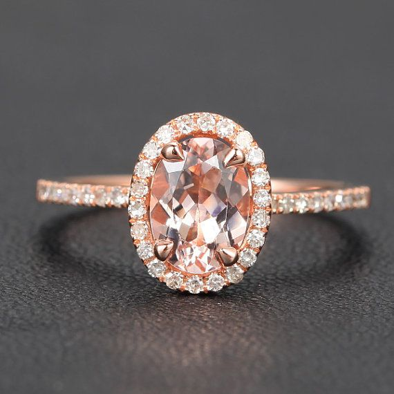 CLAW PRONGS 14K Rose Gold 6x8mm Oval Morganite Ring by ThisIsLOGR, $389.00