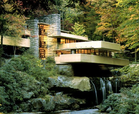 Fallingwater. Frank Lloyd Wright's most famous design. designed so that the house and nature fit together seamlessly.