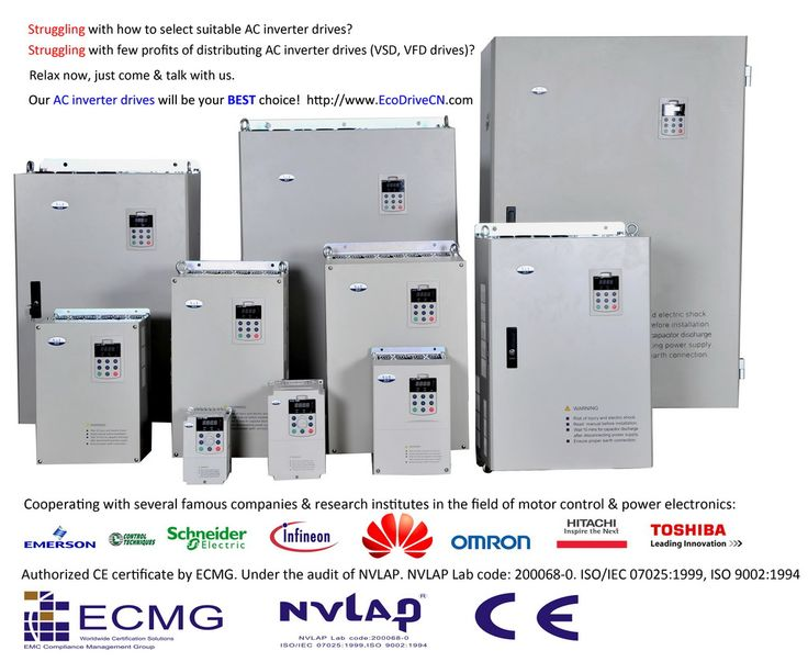 Struggling with few profits when distributing AC inverter drives (VSD, VFD) , servo drives, motor soft starters, & power electronics?  Relax now, just contact us.   Our AC inverter drives & other power electronics will be your best choice!   http://www.EcoDriveCN.com  Cooperating with several famous companies & research institutes in the field of motor control, energy efficiency & power electronics.  Authorized CE by ECMG. Under the audit of NVLAP.