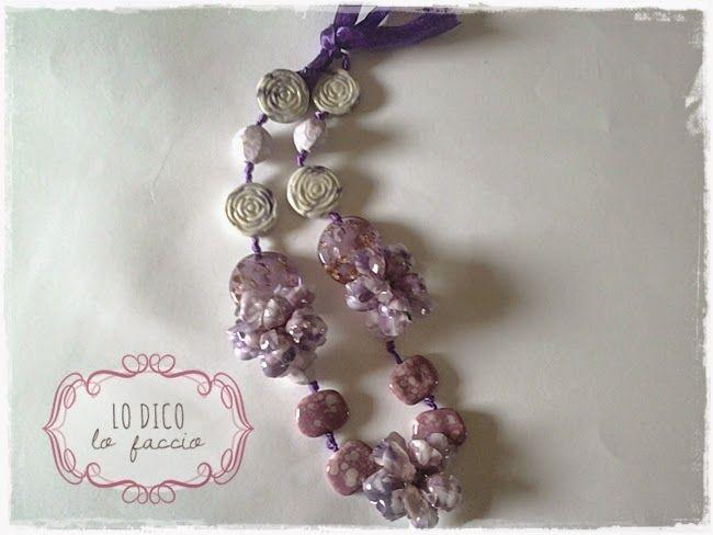 Collana in Sospeso Trasparente con fiori Purple