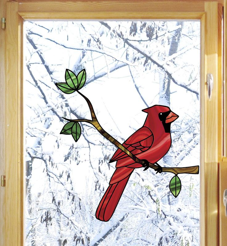 "CLR:WND - Cardinal Bird Perched on Branch - Stained Glass Style Vinyl Decal for Windows ©YYDC(5.75""w x 6""h)"