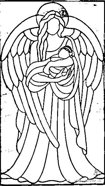 Раскраска для витражей ангелы