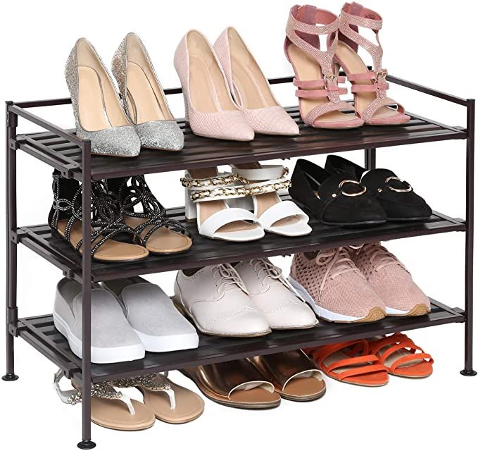 Amazon Com Seville Classics 3 Tier Stackable 12 Pair Woodgrain Resin Shoe Rack Organizer Sturdy Metal Storag In 2020 Shoe Storage Rack Shoe Rack For Home Shoe Storage