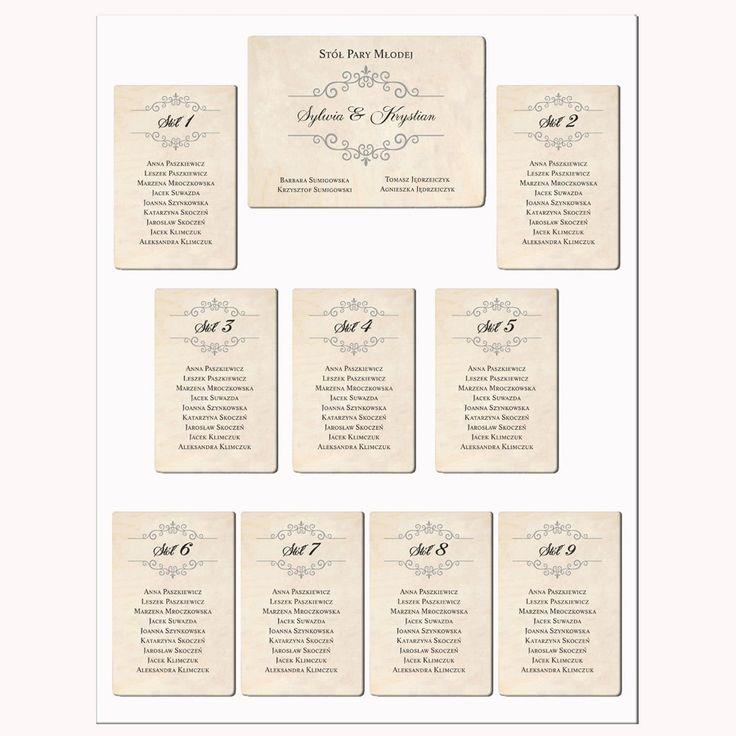 Piękne ręcznie robione plany stołów weselnych. Motyw - Wzorek