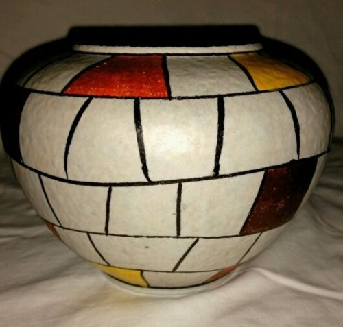 Ilkra-Keramik-Vase-50-er-Jahre-Mauerdekor-202-11-Mid-Century