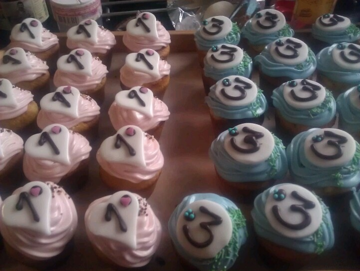 Cupcakes for double b-dayparty.