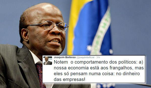 """Joaquim Barbosa detona o PSDB: """"Só pensam no dinheiro das empresas.Dá pra levar essa gente a sério?"""""""