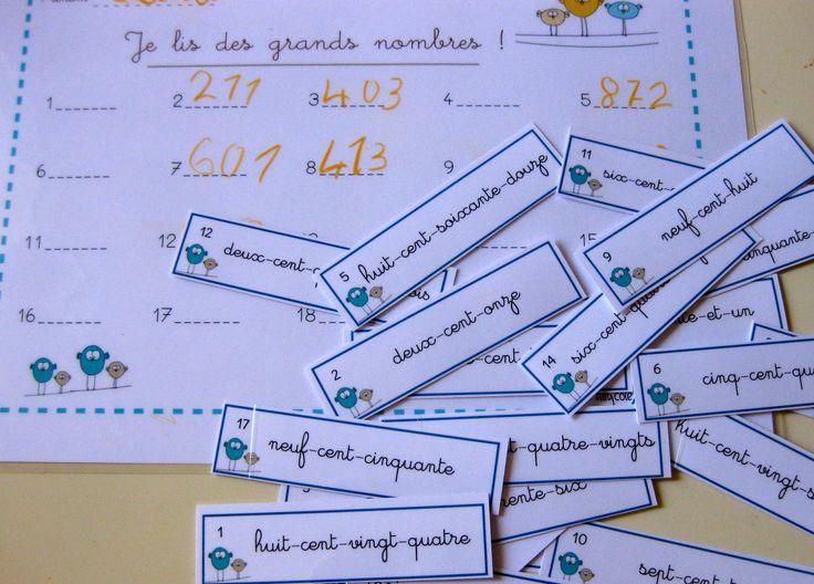 """CE1  - """"Je lis des grands nombres""""  nombres à 3 chiffres"""