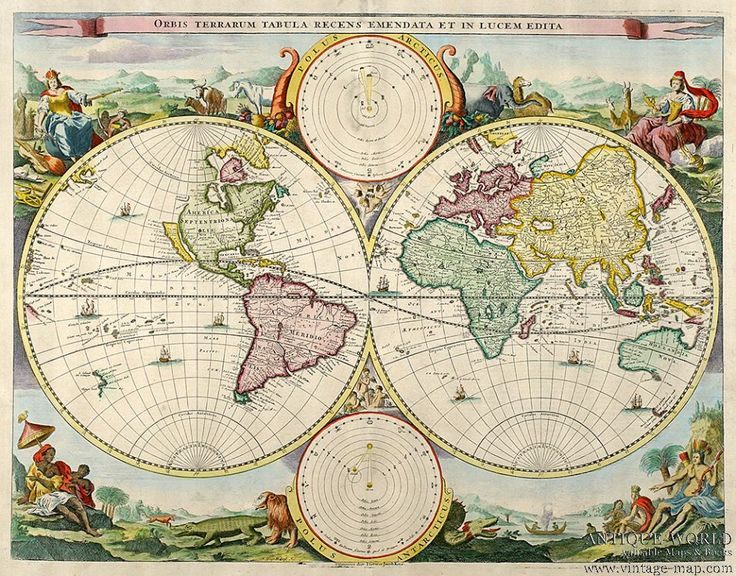 Antique Maps Stoopendaal circa 1680 World Maps