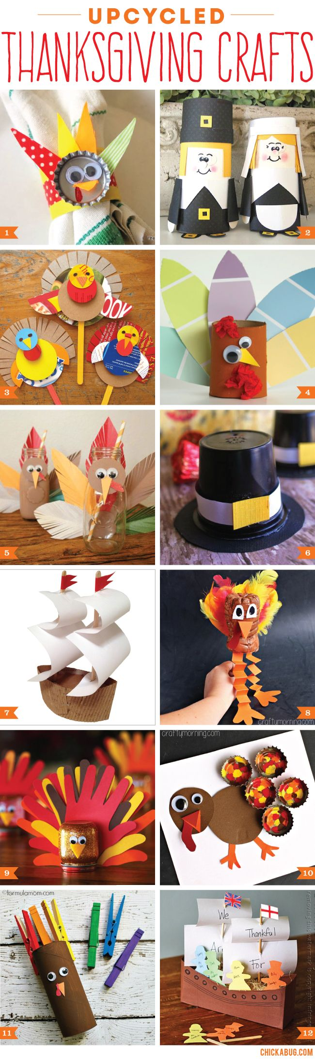 These upcycled Thanksgiving crafts for kids are great for playtime. Lots of them will do double duty as Thanksgiving table decor, too! #upcycle #thanksgiving #craftsforkids
