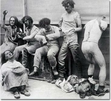 Fire damaged wax figures from Madame Tussaud's London museum circa 1930.