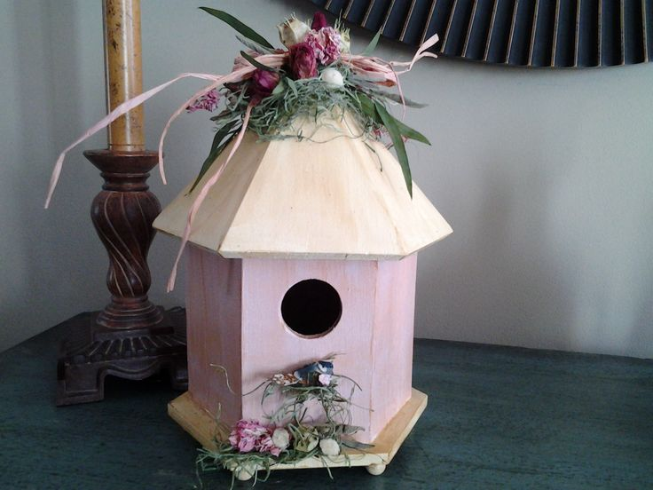 Spring Pink Painted Wooden Birdhouse With Red Spray Roses, Pink Larkspur,  Nigella, White