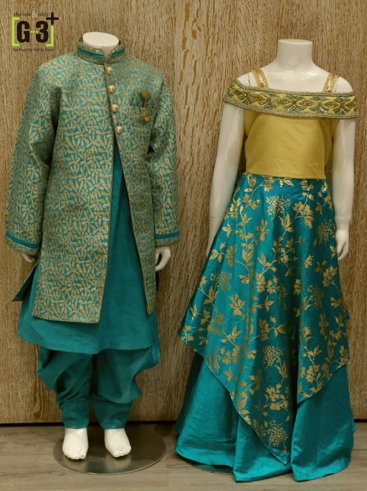 9d0903b19c Girls Gown and boys indo western, designer gown, silk fabric, indian girls  wear