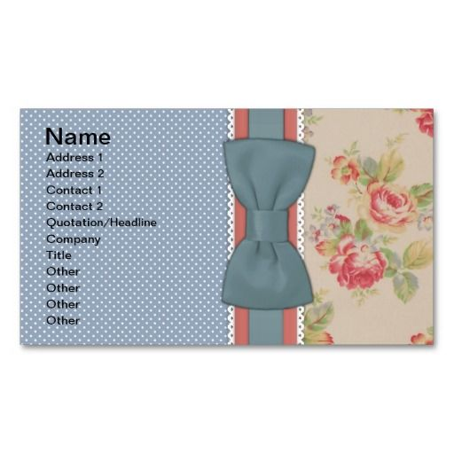 268 best retro vintage business card templates images on pinterest beautiful cute elegant girly vintage flowers bow business cards reheart Choice Image