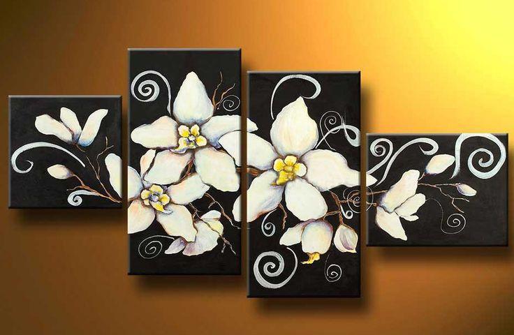 Cuadros abstractos tripticos dipticos flores modernas - Cuadros flores modernas ...