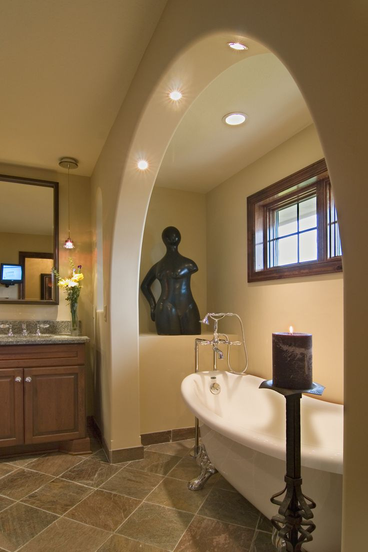 Luxury Master Bathroom with sculpture and unique