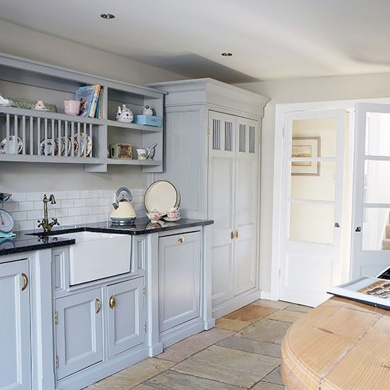 Blue Kitchen Cabinets Units: Country Kitchen With Painted Units And Belfast Sink