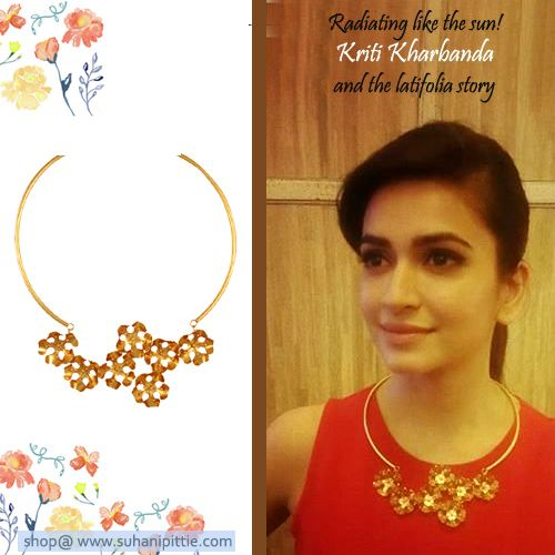 Radiating Like The Sun! Kriti Kharbanda Glows In Our Latifolia Necklace. Steal Her Look @ http://www.suhanipittie.com/gold-plated-wire-haslee-with-latifolia-on-center.html #SIIMAwards #Jewelry #Fashion #SuhaniPittie #KritiKharbanda