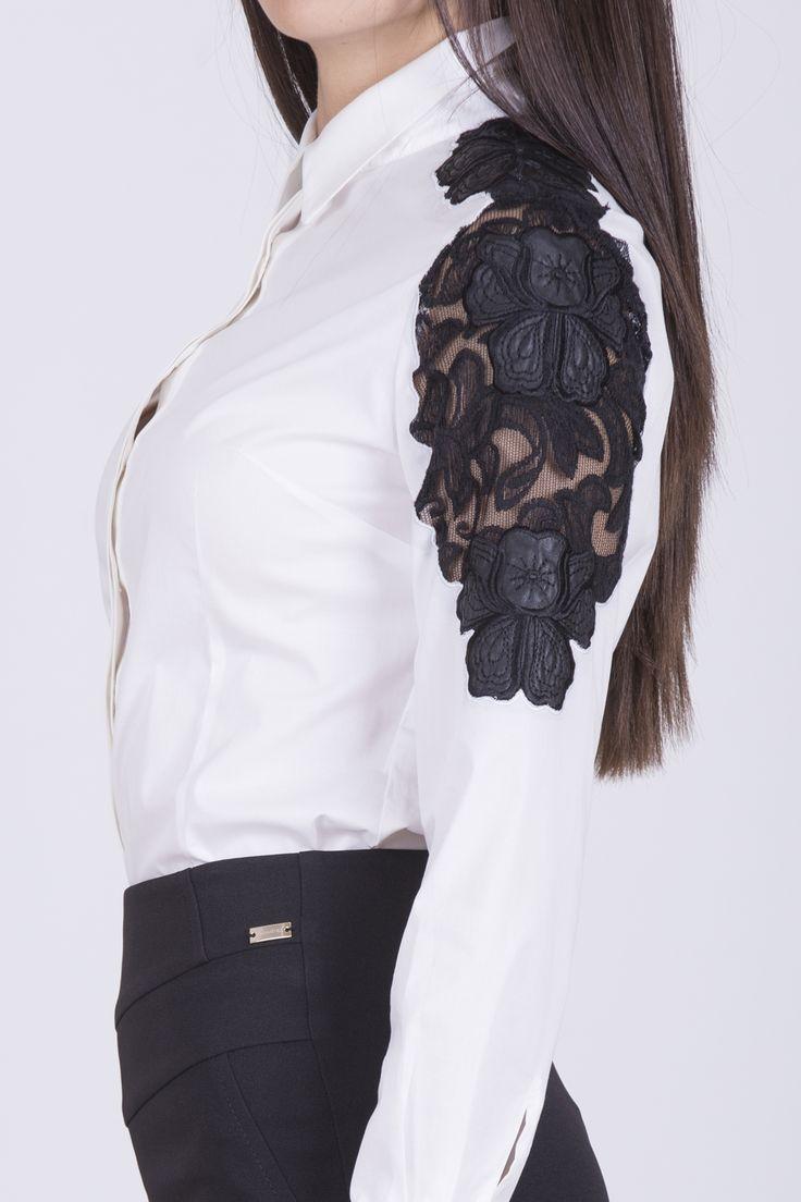 Omuzda Güpür Detaylı, Uzun Kol, Poplin Gömlek #Poplin #gömlek #bayan #gömlek