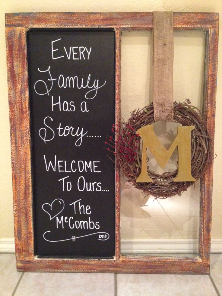 Old Window chalkboard paint on 1 side with vinyl lettering ... Maybe photo collage in other side www.walldecorplus...
