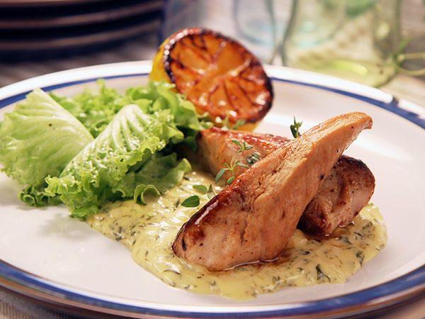 Kyckling med grillad citron och timjansås