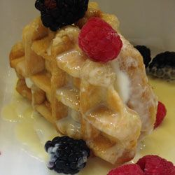 Bel-Gaufre Ice-cream waffle sandwich with warm honey and lemon coulis recipe