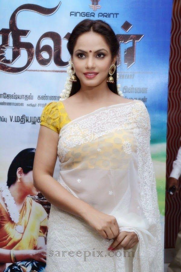 "Neetu chandra in saree at ""Thilagar"" audio launch"