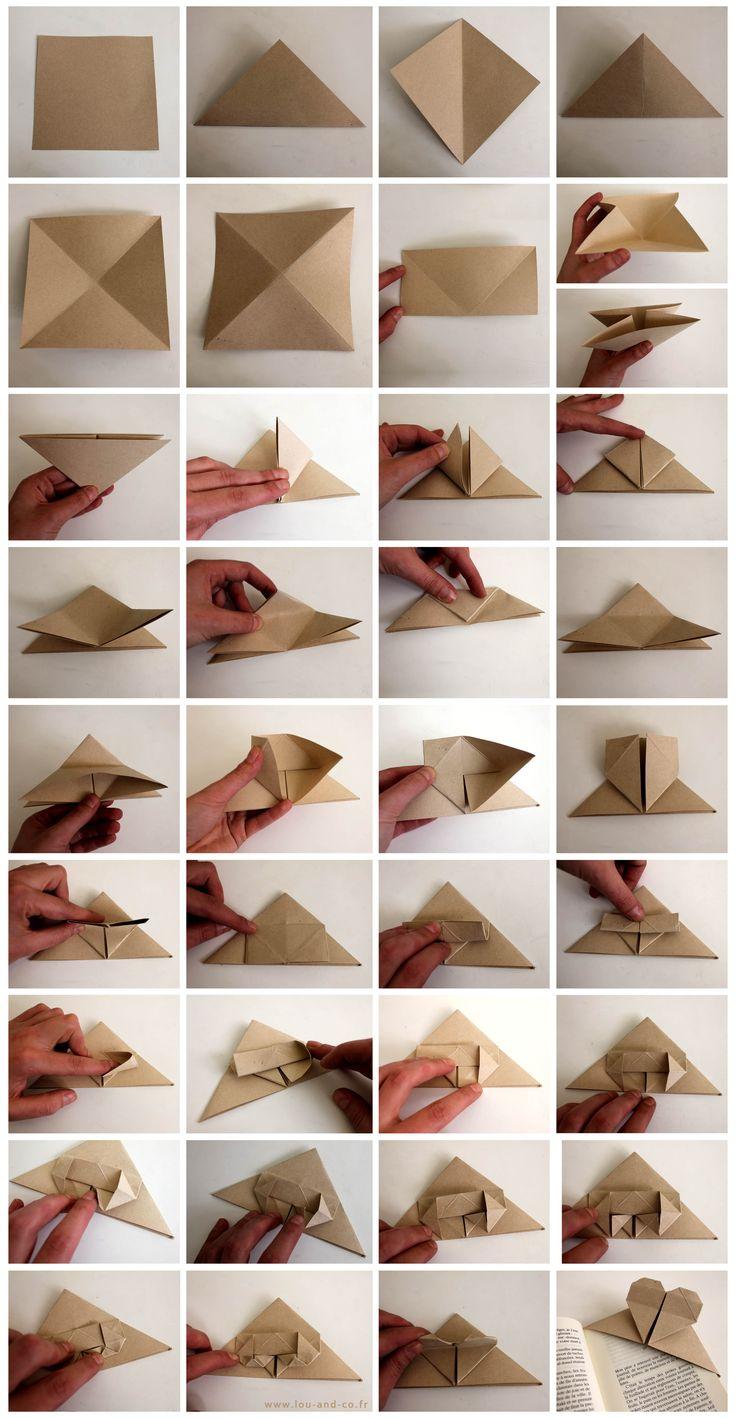 Corner bookmark heart origami