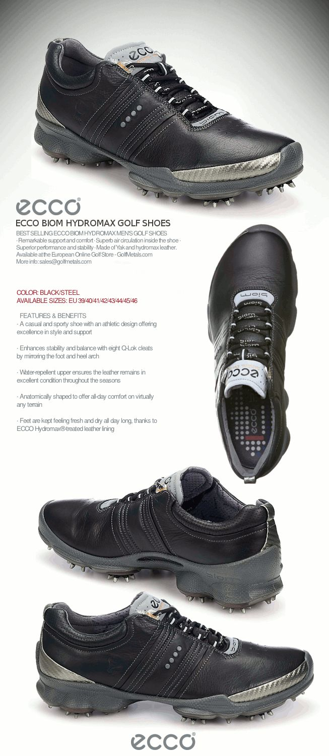 The BIOM Yak Hydromax Men's Golf Shoes by ECCO® in color Black/Steel.