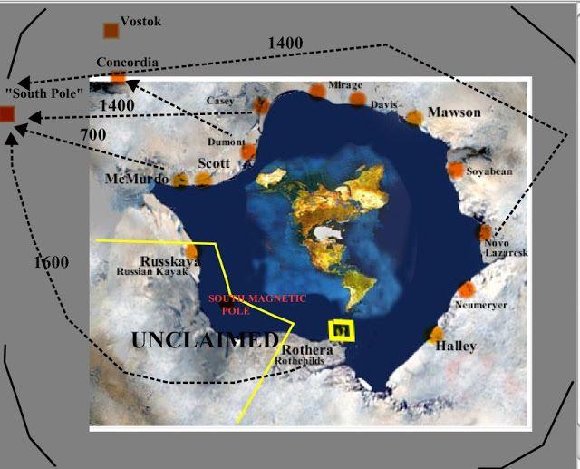 Especulativa mapa de la tierra plana marcada con unas pocas estaciones en el interior de la Antártida