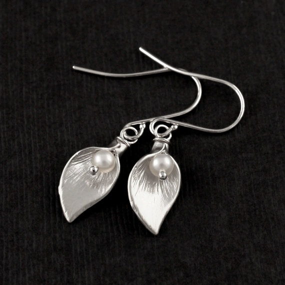 Calla Lilies Silver Pearl Earrings  Silver Calla by LuxeAdornments, $24.00