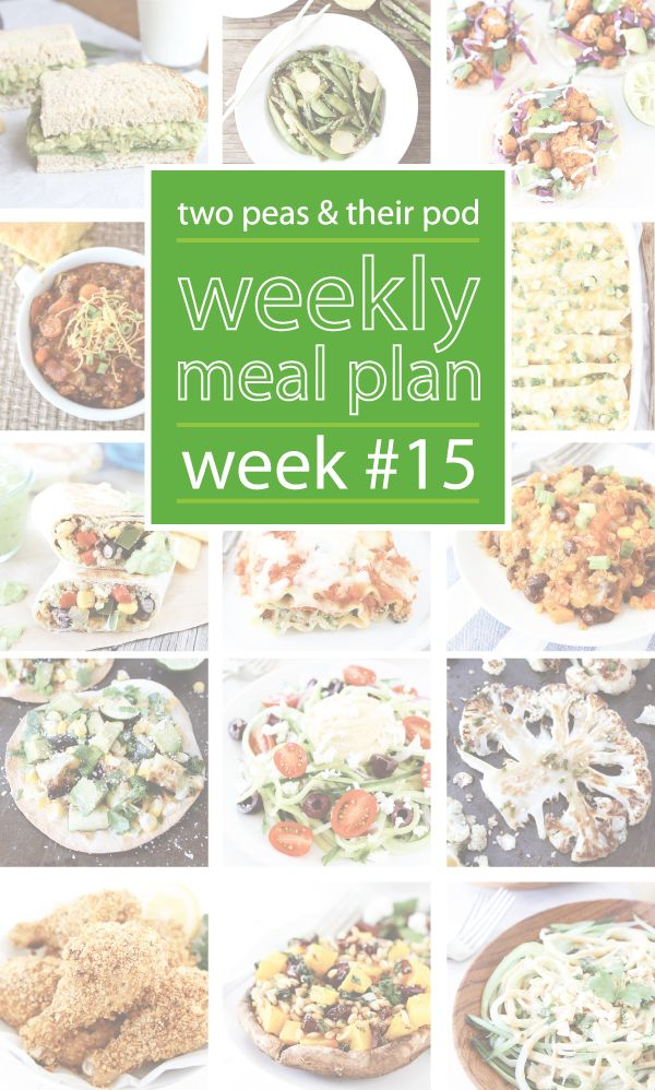 Weekly Meal Plan, Week 15 on twopeasandtheirpod.com Great dinner ideas and a few sweet treats too! Bookmark this one!