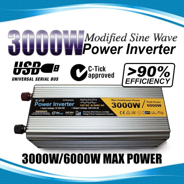 3000W / 6000W 12V-240V Power INVERTER Modified Sine Wave Camping Caravan Boat