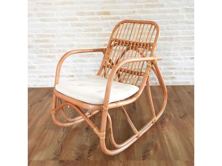 Serena rattan rocking chair with cushion, natural