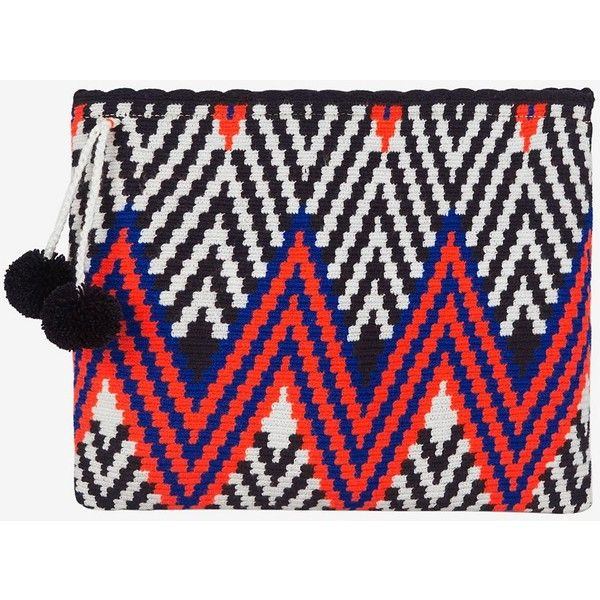 Sophie Anderson Lia Zig Zag Fabric Zip Top Clutch ($315) ❤ liked on Polyvore featuring bags, handbags, clutches, black, black evening handbags, black woven handbag, zip top handbags, evening clutches and cocktail purse