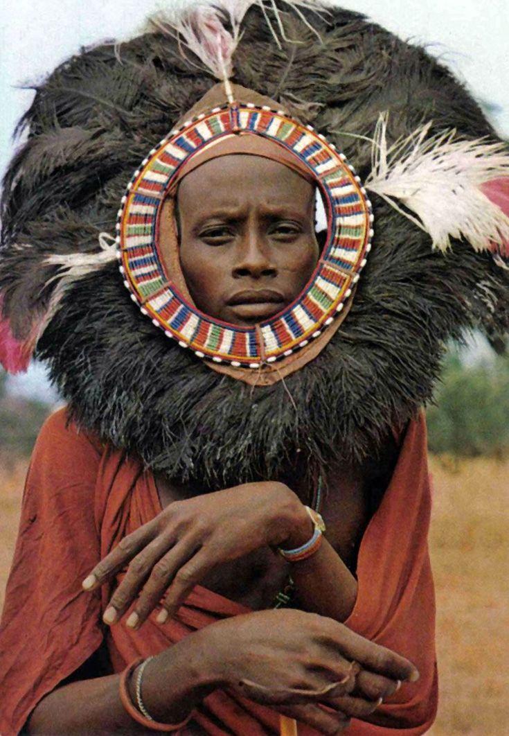 Africa | Masai Moran Dancer.  Kenya || Scanned postcard; published by Frank Ltd, Mombasa