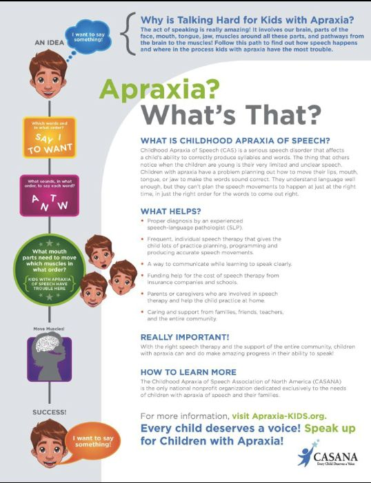 Information about childhood apraxia of speech. Great for explaining apraxia to parents and for us too.