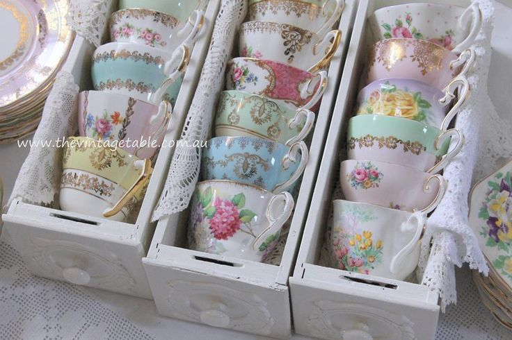 Vintage Bone China Teacups in Vintage Drawers - perfect display for a high tea party.
