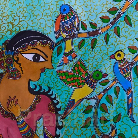 MADHUBANI PAINTING- WOMANHOOD Madhubani painting or Mithila painting is a style of art practiced in the Mithila region of Nepal and in Bihar in India. Madhubani paintings are created using fingers, twigs, brushes, nib-pens, and matchsticks, using natural dyes and pigments and