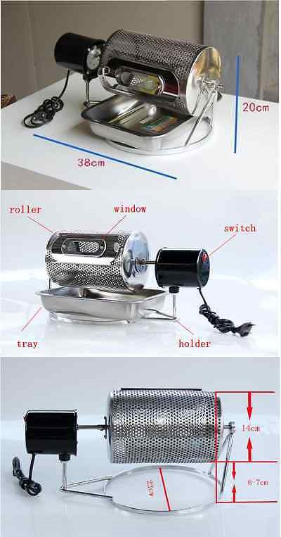 Update Manual Stainless Steel Coffee Beans Roaster Machine Home Kitchen Tool e