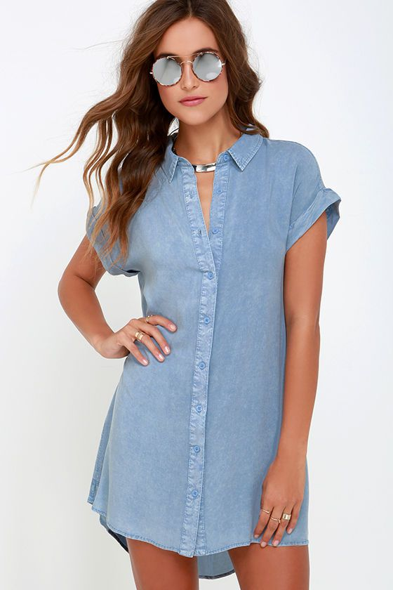 zip top bag Keeping Cool Washed Blue Shirt Dress at Lulus com