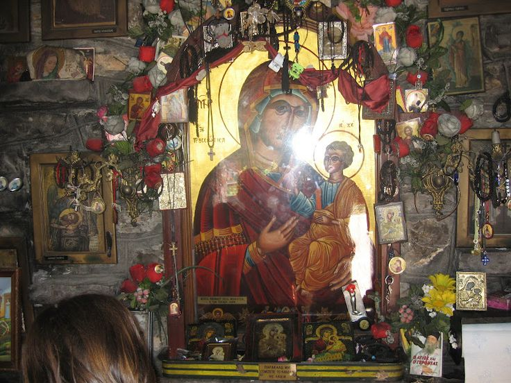 Panagia Prousiotissa, near Karpenisi, Greece. This icon was found by shepherds in the 800s when a celestial light was beaming from the sky. The shepherd followed the light and saw the miraculous icon, and a monastery was built on where the icon was found