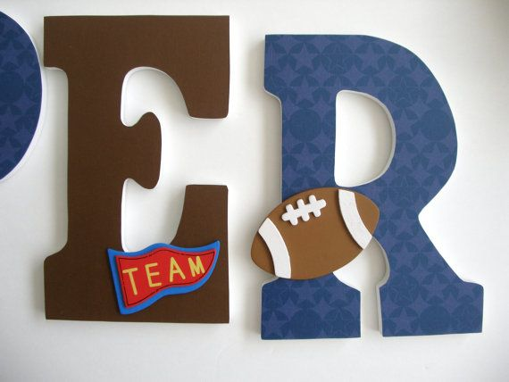 Boys Custom Decorated Wooden Letters, Sports Theme Wall Hanging, Wooden Letters for Nursery, Decoupage Letters for Boys