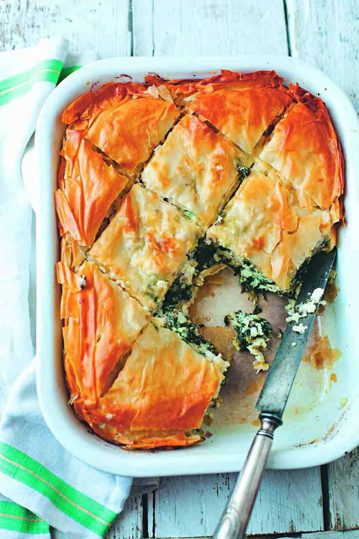 Spinach+torte+Recipe  This is a new favorite. I am not going back to spanikopitas'. I used frozen spinach (two small packages-thawed and squeeze out water, after sauteeing it with the onions and oregano, add 2 tablespoons flour). I used the whole phylo package.