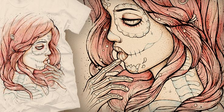 """""""Day Of The Dead Mermaid Isn't That Cool"""" t-shirt design by Satangelica"""