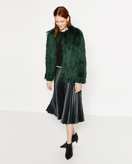 Image 1 of SHORT FAUX FUR JACKET from Zara